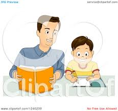 homework design studio clipart of a happy father helping his son with homework royalty
