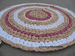 Shabby Chic Kitchen Rugs Shabby Chic Circle Crocheted Rag Rug Eco By Adornwithaandm On Etsy
