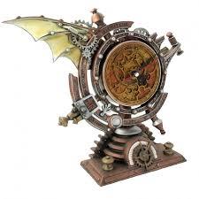 stormgrave winged steampunk pedestal mantle clock clocks steam punk