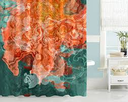 Coral And Turquoise Curtains Coral Shower Curtain Etsy