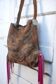 Hair On Cowhide Purse Breast Cancer Edition Brindle Cowhide Purse With Pink Fringe