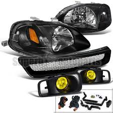 honda civic headlight for 1999 2000 honda civic headlight black bumper fog l yellow