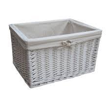 white wicker rectangular deep storage basket interior design