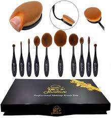 sancan professional 10 piece soft oval makeup brush set
