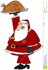 santa holding up a roasted turkey royalty free stock photos