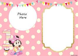 free printable minnie mouse 1st invitation templates drevio