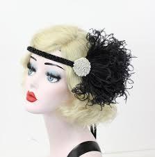 Moulin Rouge Halloween Costume Black Feather Headband Crystal Rhinestone Hair Accessory