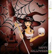 halloween artwork free happy halloween card witch and skull royalty free stock images