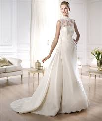 wedding dress with detachable a line high neck satin lace wedding dress with detachable