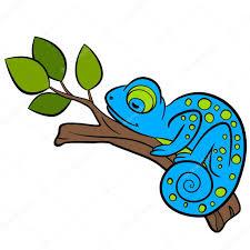 cartoon animals for kids little cute blue chameleon sleeps