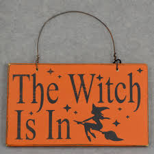 the witch is in wood hand painted sign for halloween home decor