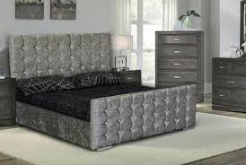 london cubed crushed velvet diamante ottoman storage double bed