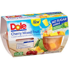 dole fruit bowls dole no sugar added cherry mixed fruit 4 oz cup 4 count box