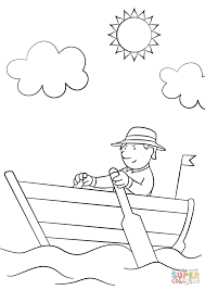 man in wooden row boat coloring page free printable coloring pages