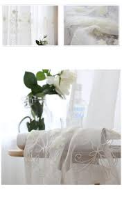 Linen Voile Curtain Fabric Cotton And Linen White Embroidered Voile Pastoral Livingroom