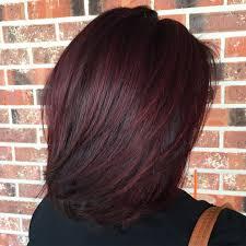 lob haircut dark wavy hair layered lob for black hair with burgundy balayage medium length