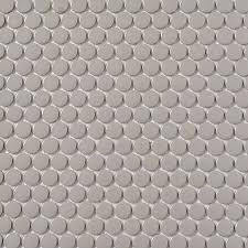 shop style selections grey penny round mosaic porcelain wall tile