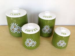 vintage kromex canister set green daisy by thriftytrendz vintage