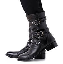 2016 men black retro combat boots belt buckle punk martin