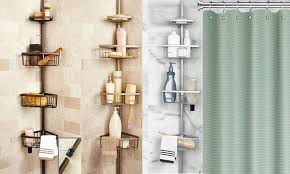 adjustable bathtub caddy adjustable pole shower bath caddy groupon goods