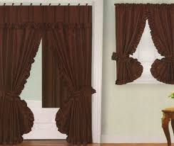 Matching Bathroom Window And Shower Curtains Bathroom Window Curtains Chocolate Brown Fabric Swag