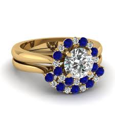 best rings design images Cathedral floating halo diamond wedding ring set with sapphire in jpg
