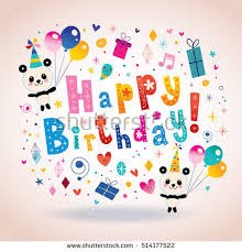 happy birthday greeting card kids vector stock vector 139875385