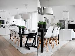 dining room scandinavian open plan dining space features wooden