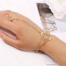 ring cuff bracelet images Sunshine famale gold plated geometric metal wrist chain bracelet jpg