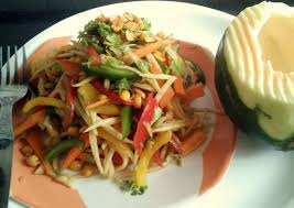 thai veg papaya salad recipe no onion no garlic by archana u0027s