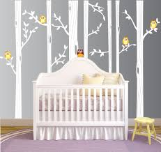 Vinyl Tree Wall Decals For Nursery by Birch Tree Forest Set Vinyl Wall Decal Owls Nursery 1321