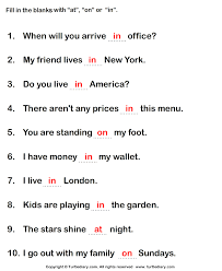 write preposition at in on to complete sentences worksheet