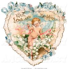 clip art of a sweet vintage valentine of cupid with ribbons