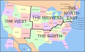 map us south u s regions west midwest south and northeast