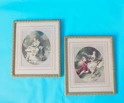 vintage set french framed prints rococo lovers pastels marie