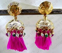 punjabi jhumka earrings traditional typical punjabi style pearl ruby green color