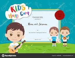 colorful kids summer camp diploma certificate template in cartoon