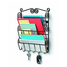 wall mount letter mail organizer and key rack holder entryway hook