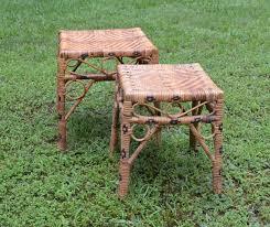 vintage rattan nesting tables reserved vintage wicker rattan nesting side end table set of 2