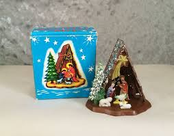 vintage plastic dollhouse miniature manger nativity