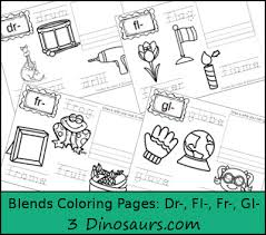 free blends coloring pages dr fl fr gl 3 dinosaurs