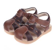 baby boy sandals soft leather brown black closed toe