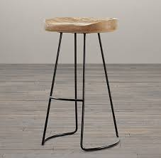 Restoration Hardware Bar Stool Oak Tractor Seat Stool