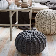 furniture make your living room more pretty with knit pouf ottoman