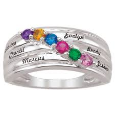 s birthstone ring s birthstone family ring in 10k white or yellow gold 2 6