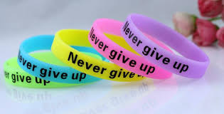 bracelet bands rubber images Meaningful never give up noctilucence glow shine silicone rubber jpg
