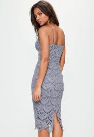 blue lace dress blue lace ladder detail midi dress missguided