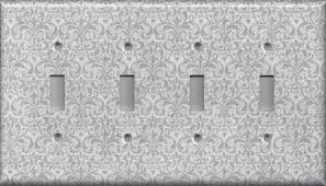 Gray Light Switch Silver Gray Grey Damask Print Hand Made Light Switch Plates
