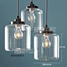 Antique Brass Pendant Light Loft E27 Edison Industrial Jar Clear Glass Pendant Lights