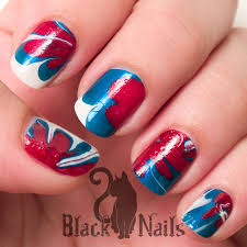 4th of july water marble with white stars nail design black cat